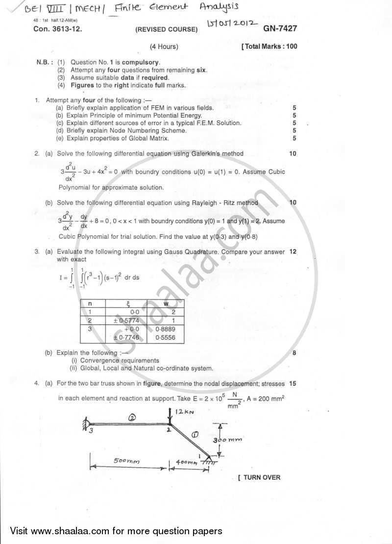 Question Paper - Finite Element Analysis 2011-2012 - B.E. - Semester 8 (BE Fourth Year) - University of Mumbai with PDF download