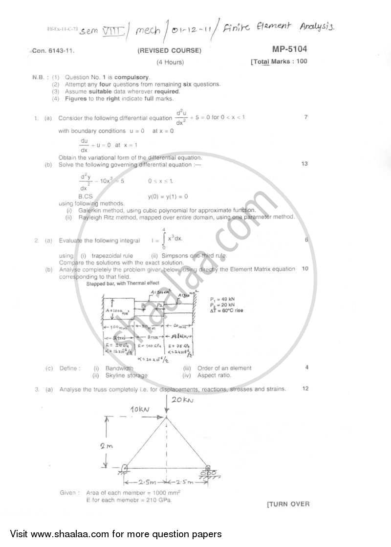Question Paper - Finite Element Analysis 2011 - 2012 - B.E. - Semester 8 (BE Fourth Year) - University of Mumbai