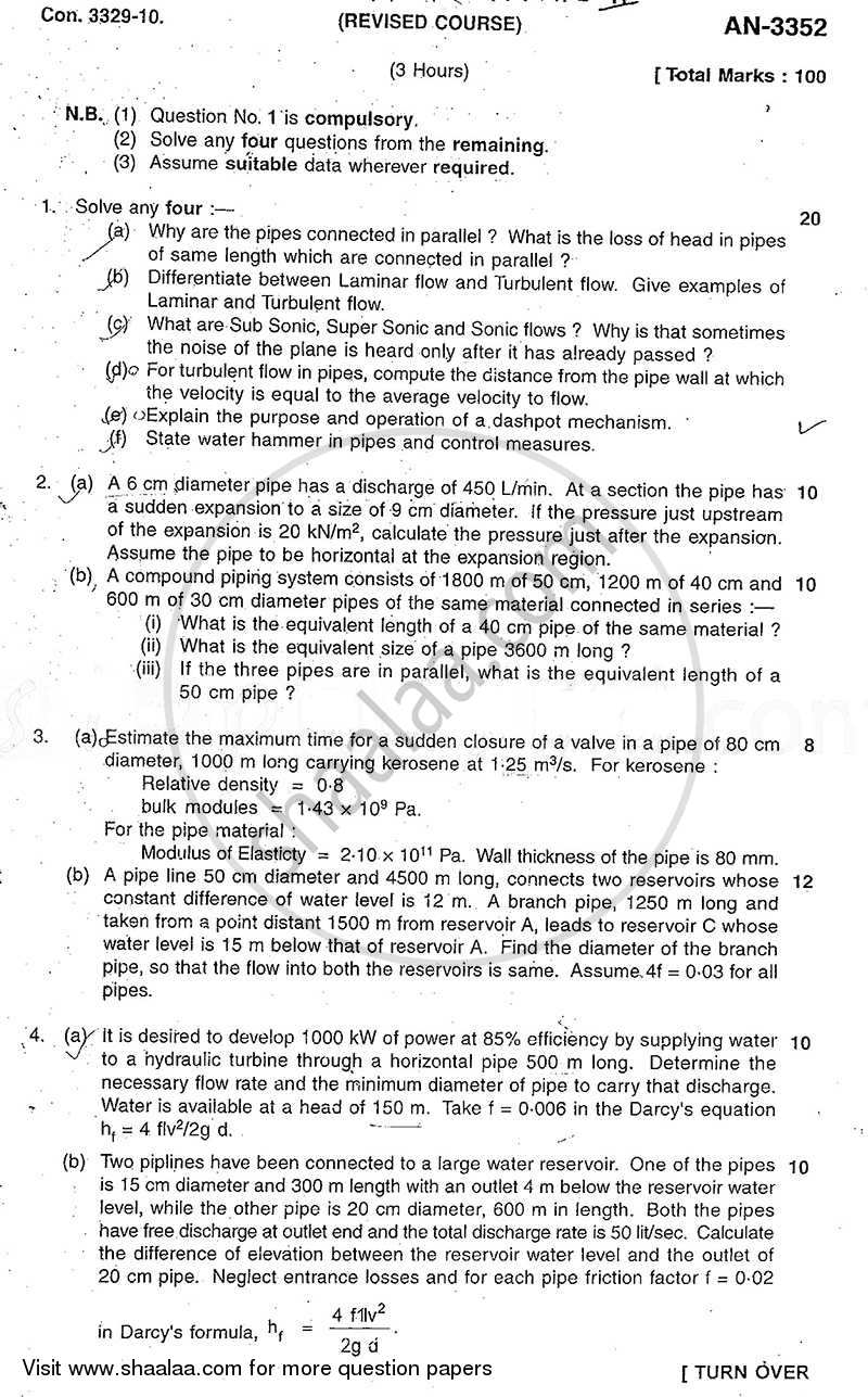 Question Paper - Fluid Mechanics 2 2009 - 2010 - B.E. - Semester 4 (SE Second Year) - University of Mumbai