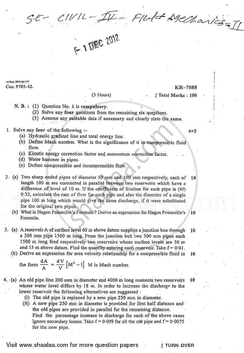 Fluid Mechanics 2 2012-2013 - B.E. - Semester 4 (SE Second Year) - University of Mumbai question paper with PDF download