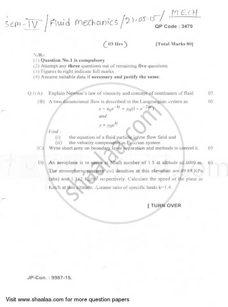 Question Paper - Fluid Mechanics 2014 - 2015 - B.E. - Semester 4 (SE Second Year) - University of Mumbai