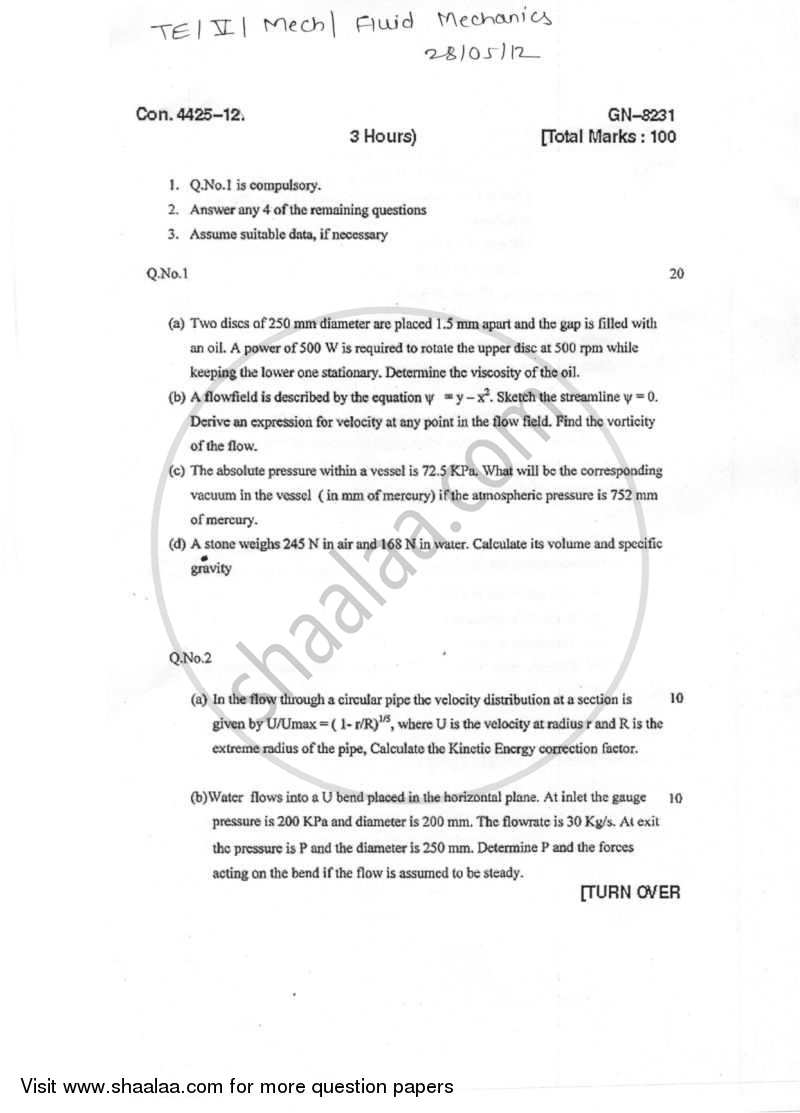 Question Paper - Fluid Mechanics 2011 - 2012 - B.E. - Semester 5 (TE Third Year) - University of Mumbai