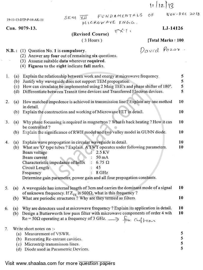 Question Paper - Fundamentals of Microwave Engineering 2013 - 2014 - B.E. - Semester 7 (BE Fourth Year) - University of Mumbai
