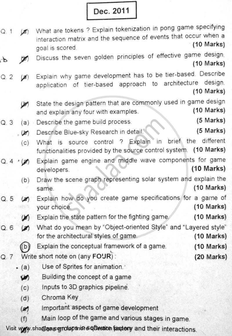 Question Paper - Gaming, Architecture and Programming 2011 - 2012 - B.E. - Semester 8 (BE Fourth Year) - University of Mumbai