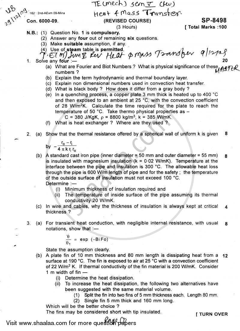 Question Paper - Heat and Mass Transfer 2009 - 2010 - B.E. - Semester 5 (TE Third Year) - University of Mumbai