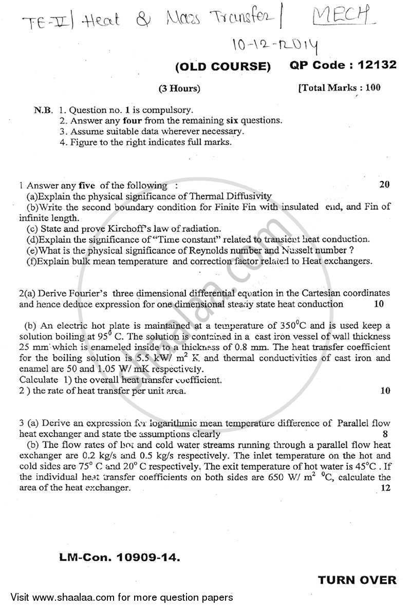 Question Paper - Heat and Mass Transfer 2014 - 2015 - B.E. - Semester 5 (TE Third Year) - University of Mumbai