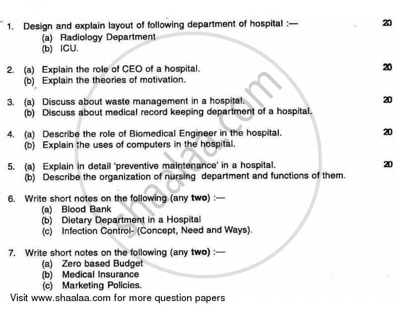 Hospital Management 2010-2011 - B.E. - Semester 8 (BE Fourth Year) - University of Mumbai question paper with PDF download