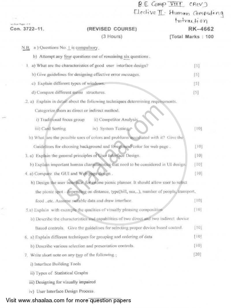 Human Computing Interaction 2010-2011 - B.E. - Semester 8 (BE Fourth Year) - University of Mumbai question paper with PDF download