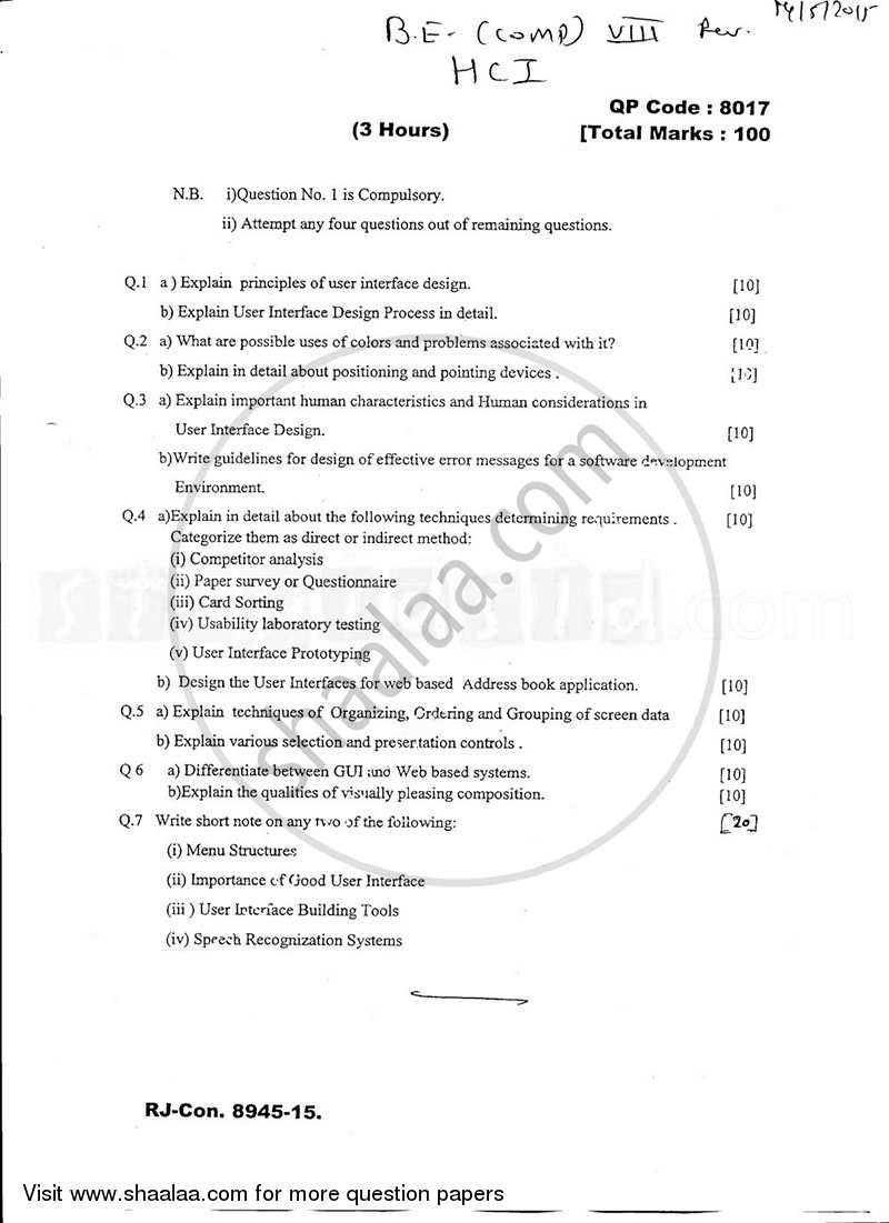 Question Paper - Human Computing Interaction 2014 - 2015 - B.E. - Semester 8 (BE Fourth Year) - University of Mumbai