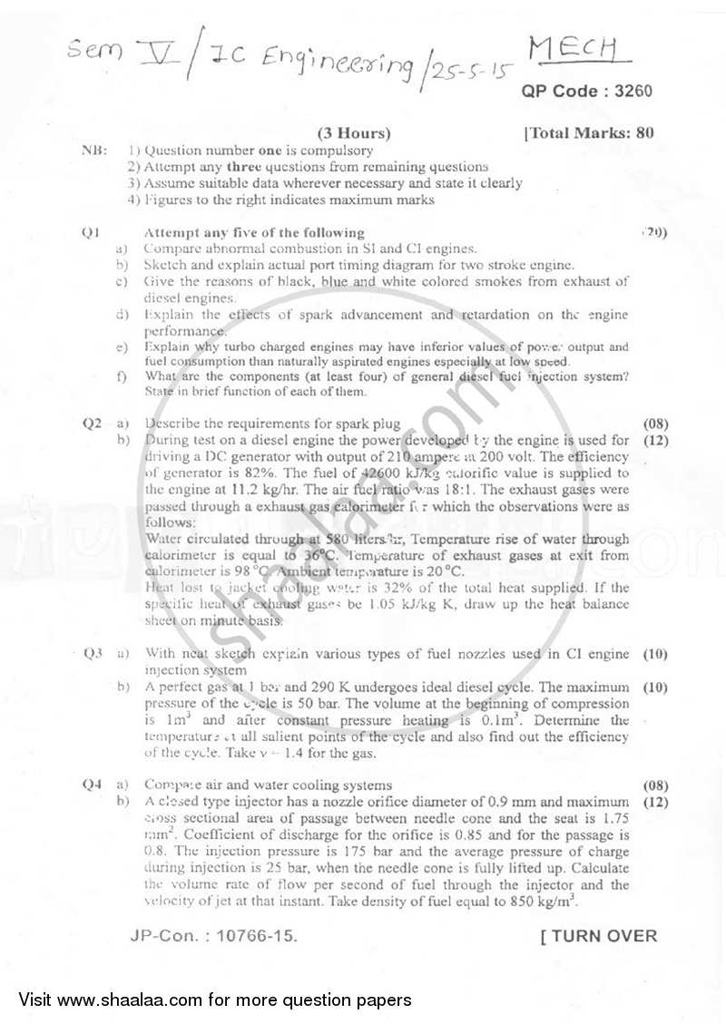 Question Paper - I.C. Engineering 2014 - 2015 - B.E. - Semester 5 (TE Third Year) - University of Mumbai