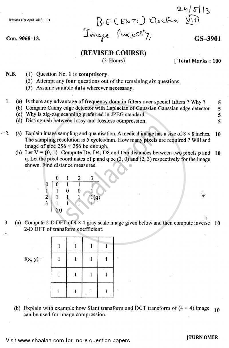 Question Paper - Image Processing 2012 - 2013 - B.E. - Semester 8 (BE Fourth Year) - University of Mumbai