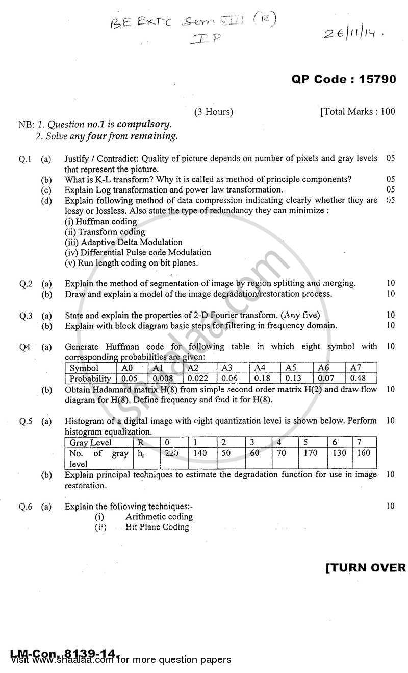 Image Processing 2014-2015 - B.E. - Semester 8 (BE Fourth Year) - University of Mumbai question paper with PDF download