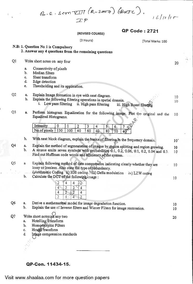 Question Paper - Image Processing 2015 - 2016 - B.E. - Semester 8 (BE Fourth Year) - University of Mumbai