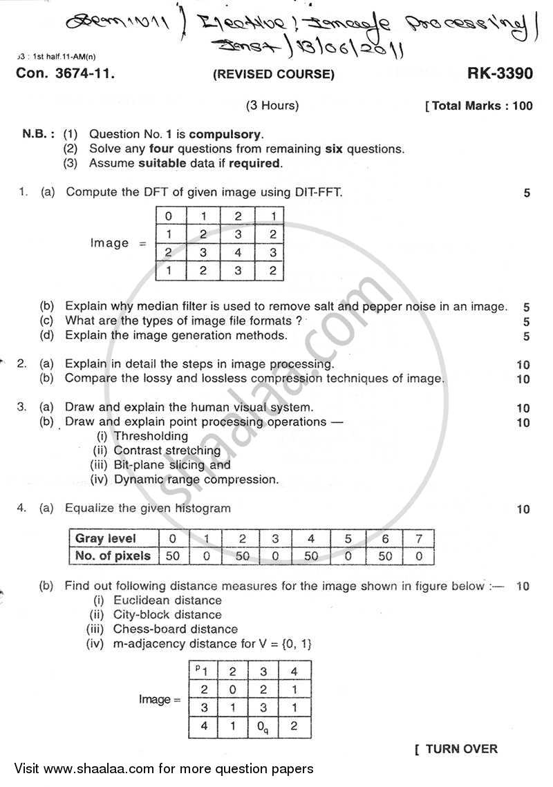 Question Paper - Image Processing 2010 - 2011 - B.E. - Semester 7 (BE Fourth Year) - University of Mumbai