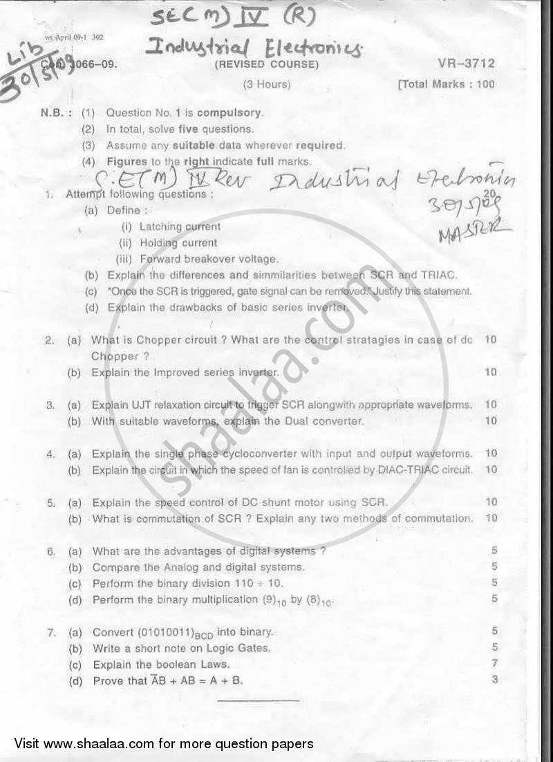 Question Paper - Industrial Electronics 2008 - 2009 - B.E. - Semester 4 (SE Second Year) - University of Mumbai