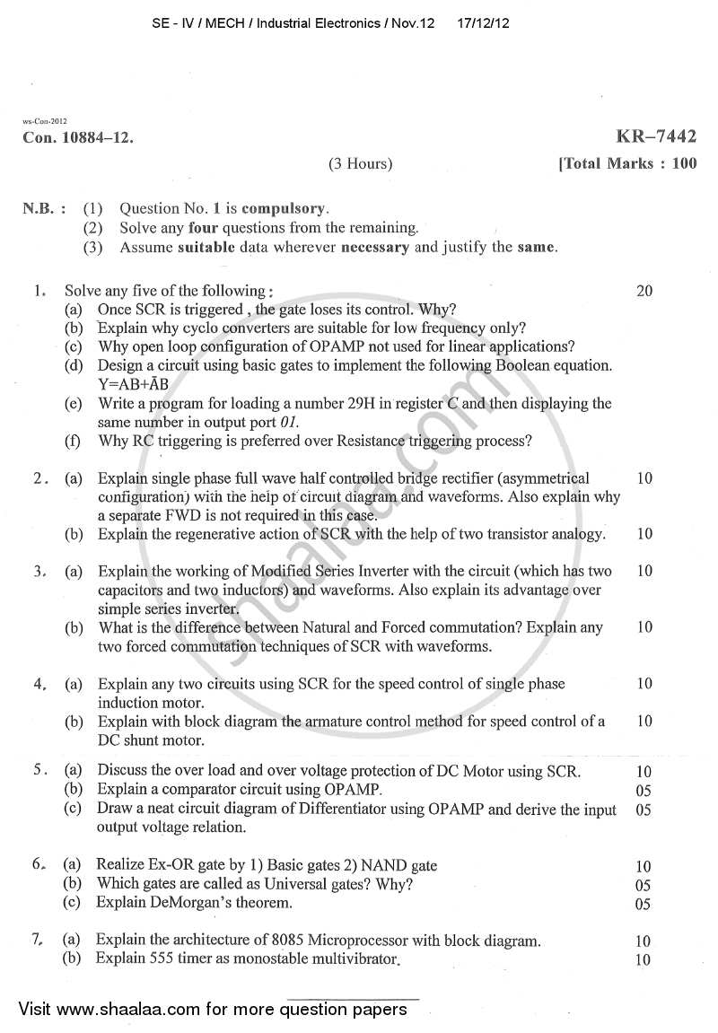 Question Paper - Industrial Electronics 2012 - 2013 - B.E. - Semester 4 (SE Second Year) - University of Mumbai