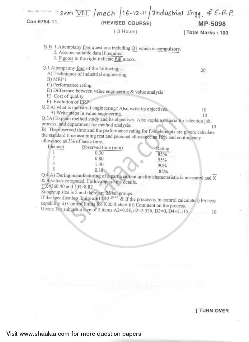 Question Paper - Industrial Engineering and Enterprise Resource Planning 2011 - 2012-B.E.-Semester 8 (BE Fourth Year) University of Mumbai