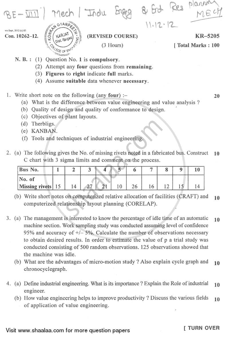 Question Paper - Industrial Engineering and Enterprise Resource Planning 2012 - 2013 - B.E. - Semester 8 (BE Fourth Year) - University of Mumbai