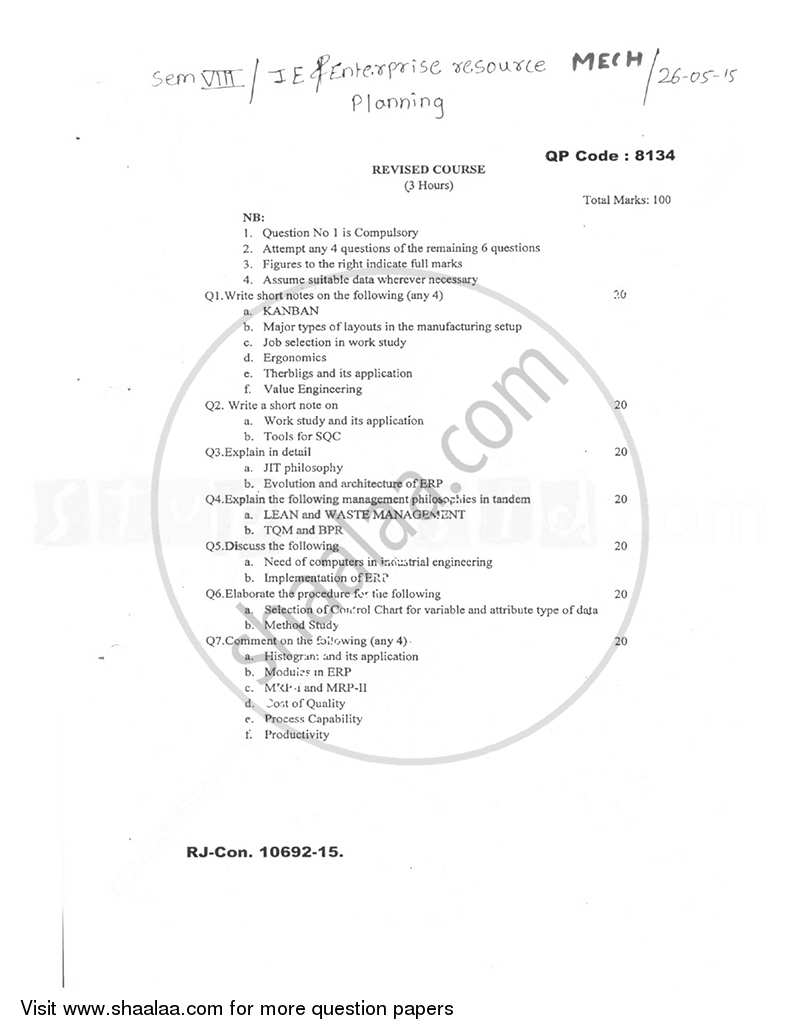Question Paper - Industrial Engineering and Enterprise Resource Planning 2014 - 2015 - B.E. - Semester 8 (BE Fourth Year) - University of Mumbai
