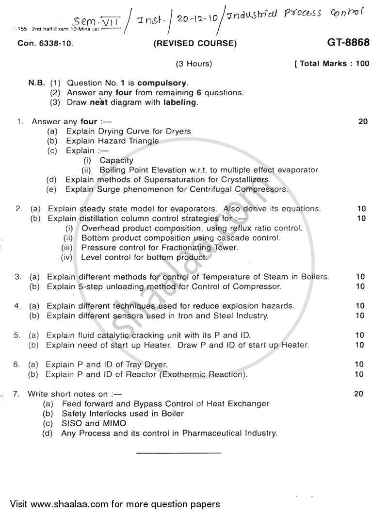 Question Paper - Industrial Process Control 2010 - 2011 - B.E. - Semester 7 (BE Fourth Year) - University of Mumbai