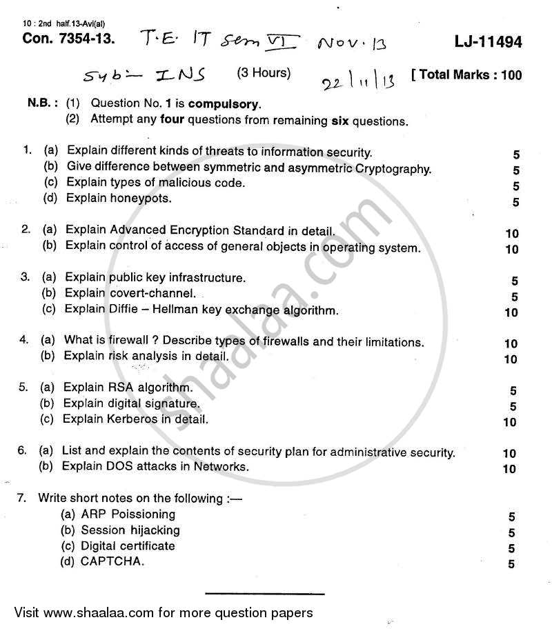 Question Paper - Information and Network Security 2013 - 2014 - B.E. - Semester 6 (TE Third Year) - University of Mumbai