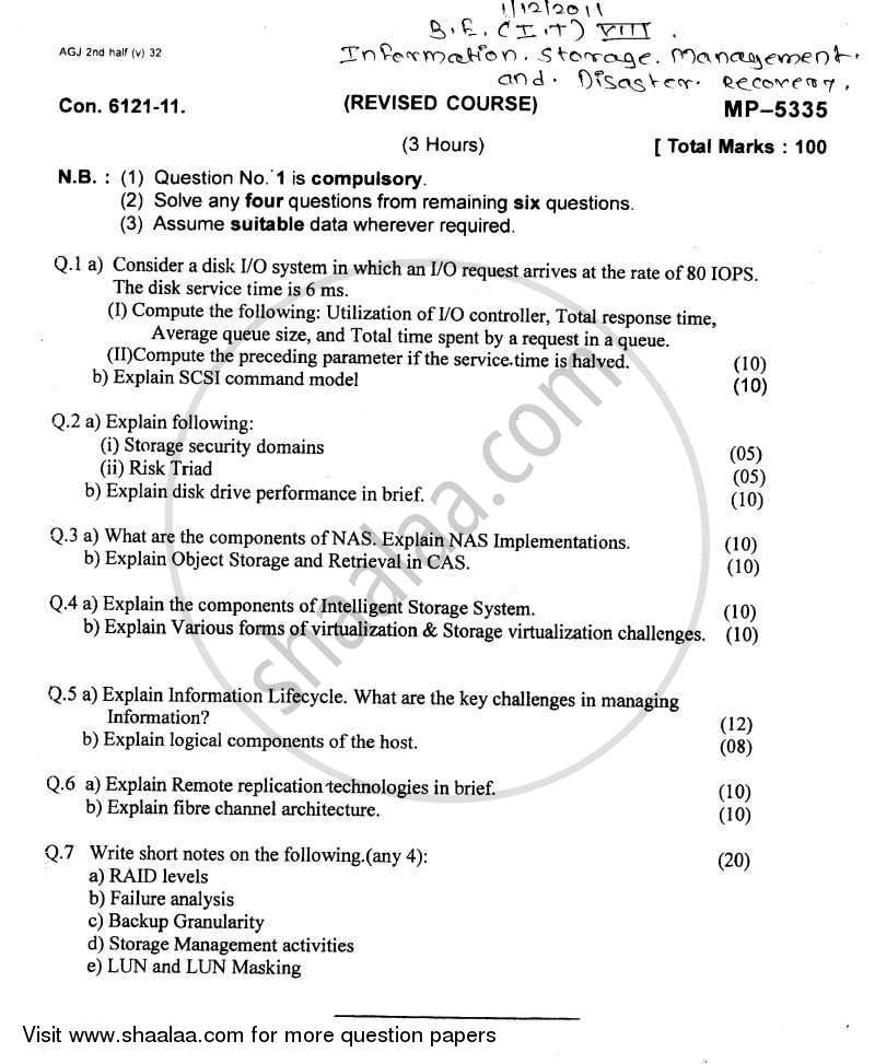 Information Storage Management and Disaster Recovery 2011-2012 - B.E. - Semester 8 (BE Fourth Year) - University of Mumbai question paper with PDF download