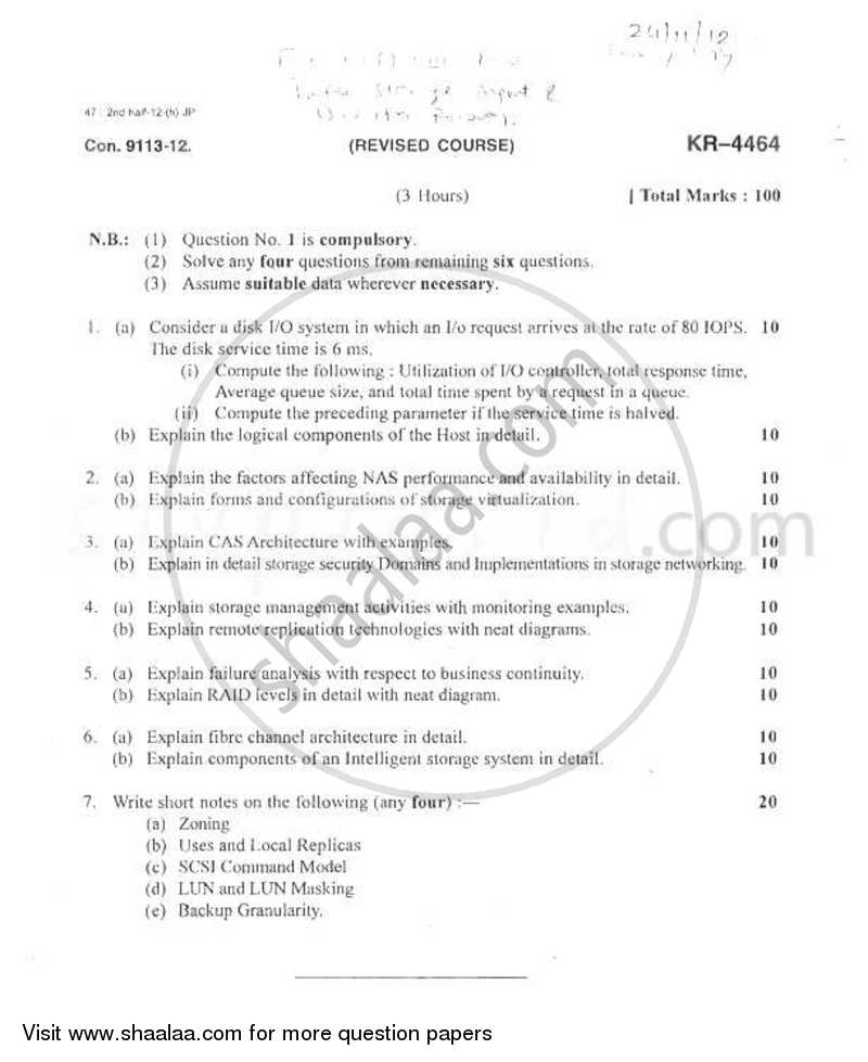 Question Paper - Information Storage Management and Disaster Recovery 2012 - 2013 - B.E. - Semester 8 (BE Fourth Year) - University of Mumbai