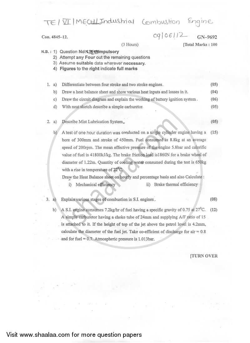 Question Paper - Internal Combustion Engines 2011 - 2012 - B.E. - Semester 6 (TE Third Year) - University of Mumbai