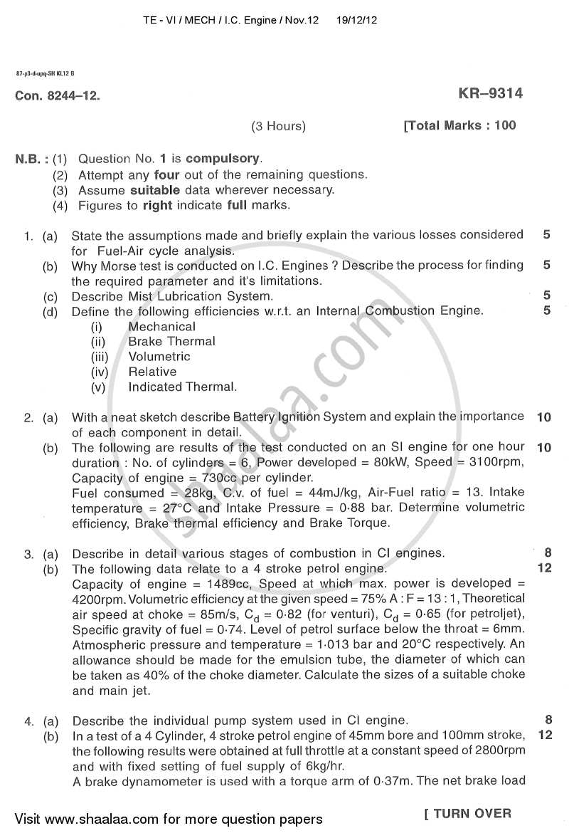 Question Paper - Internal Combustion Engines 2012 - 2013 - B.E. - Semester 6 (TE Third Year) - University of Mumbai