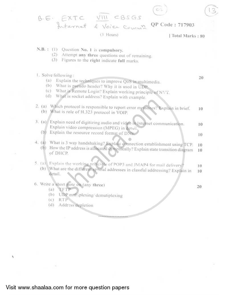 Question Paper - Internet and Voice Communication 2016-2017 - B.E. - Semester 8 (BE Fourth Year) - University of Mumbai with PDF download