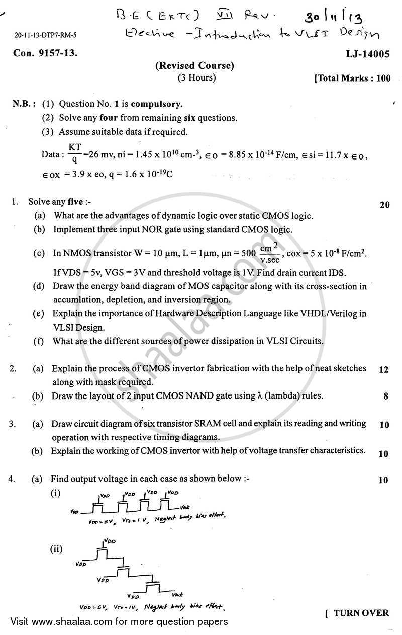 Question Paper - Introduction to Vlsi Design 2013 - 2014 - B.E. - Semester 7 (BE Fourth Year) - University of Mumbai