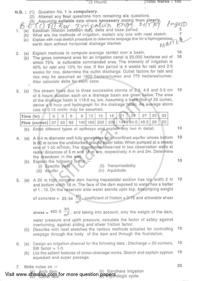 Question Paper - Irrigation Engineering 2008 - 2009 - B.E. - Semester 7 (BE Fourth Year) - University of Mumbai