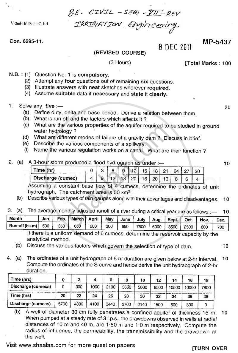 Question Paper - Irrigation Engineering 2011 - 2012 - B.E. - Semester 7 (BE Fourth Year) - University of Mumbai