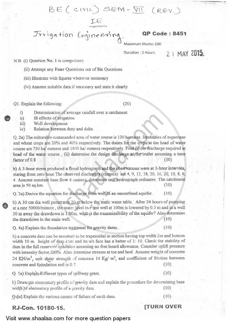 Question Paper - Irrigation Engineering 2014 - 2015 - B.E. - Semester 7 (BE Fourth Year) - University of Mumbai