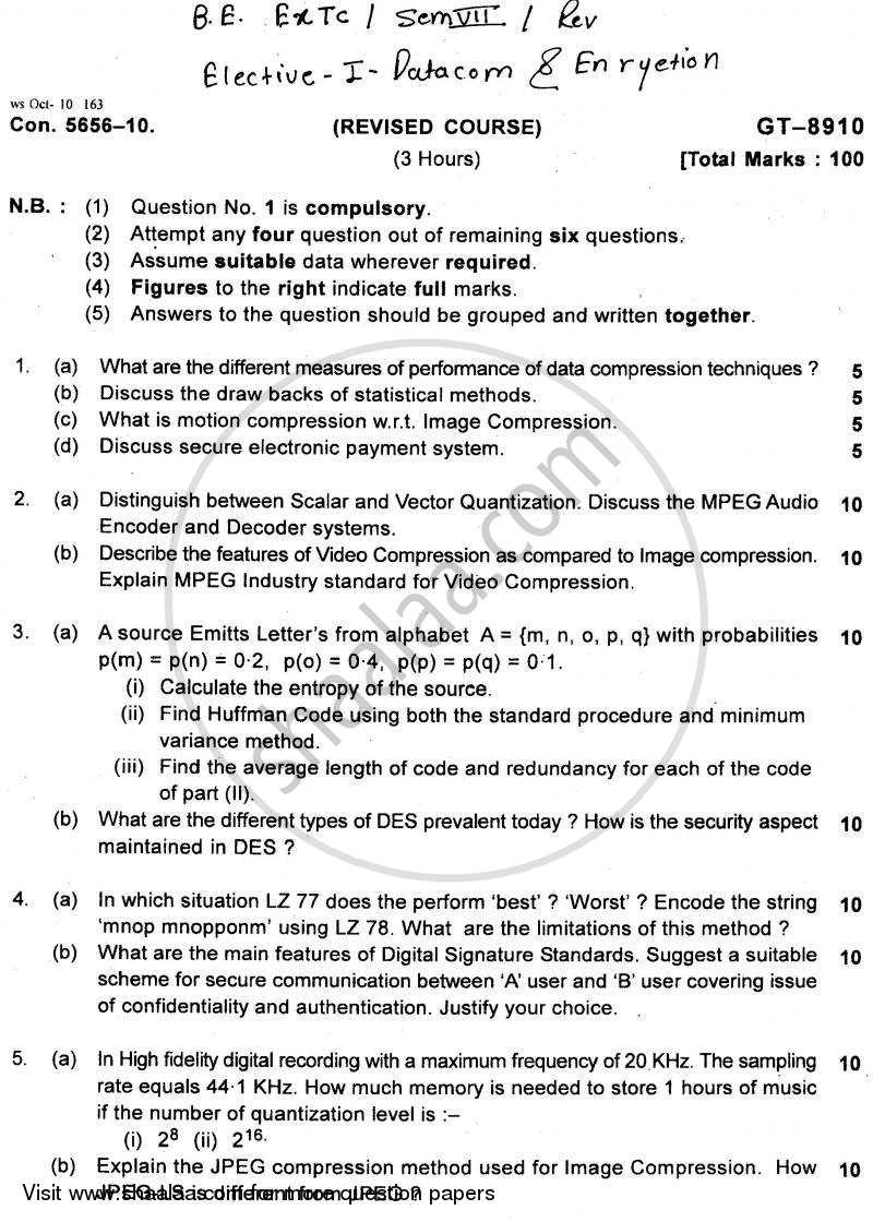 Question Paper - IT in Construction 2010 - 2011 - B.E. - Semester 7 (BE Fourth Year) - University of Mumbai