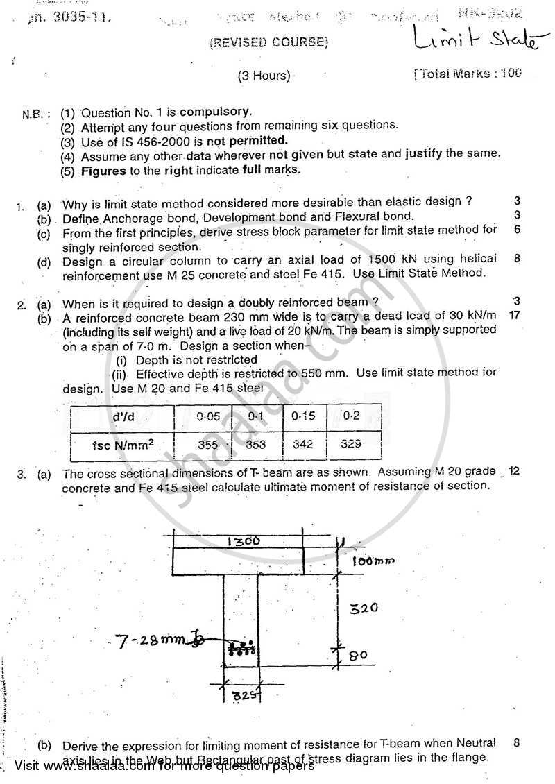 Question Paper - Limit State Method for Reinforced Concrete Structures 2010 - 2011 - B.E. - Semester 7 (BE Fourth Year) - University of Mumbai