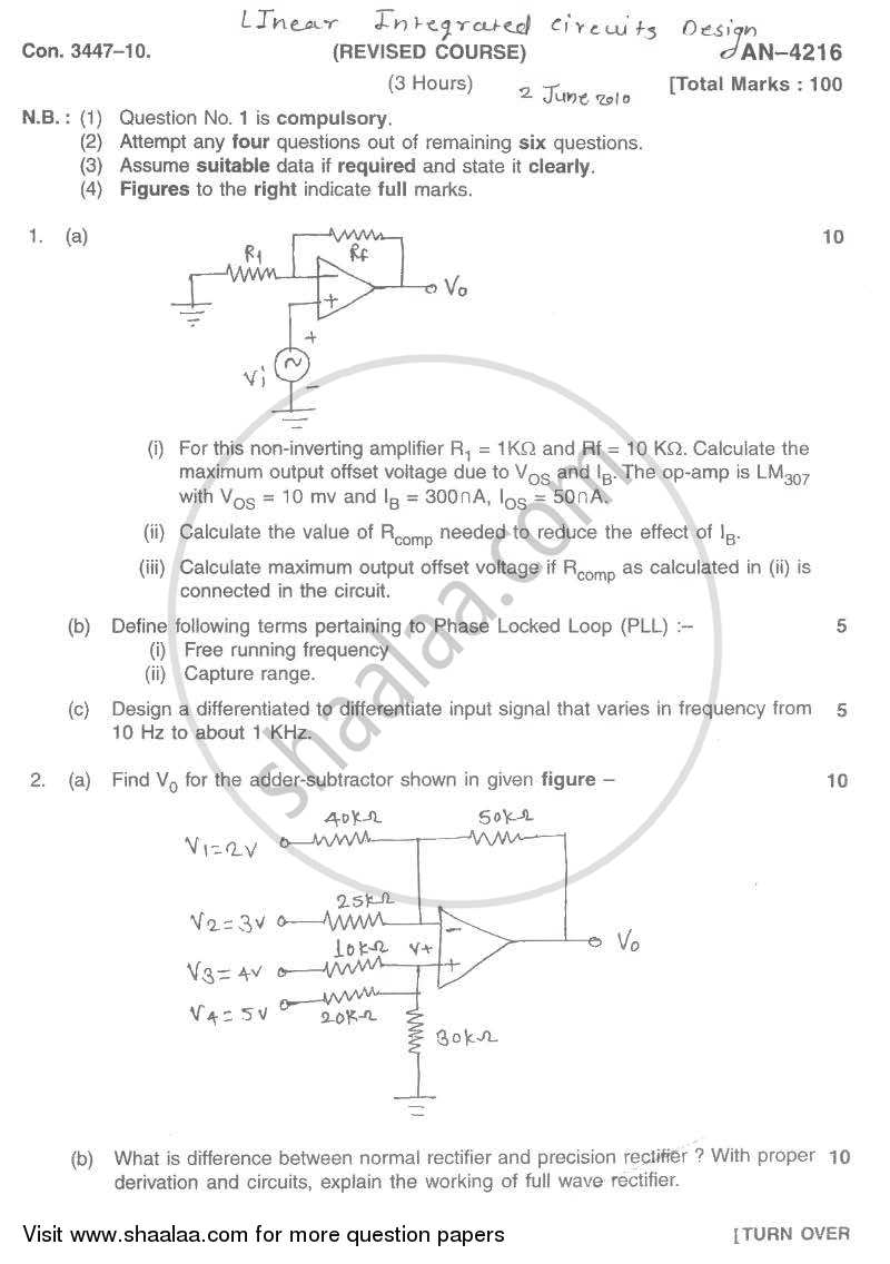 Question Paper - Linear Integrated Circuits and Design 2009 - 2010 - B.E. - Semester 5 (TE Third Year) - University of Mumbai