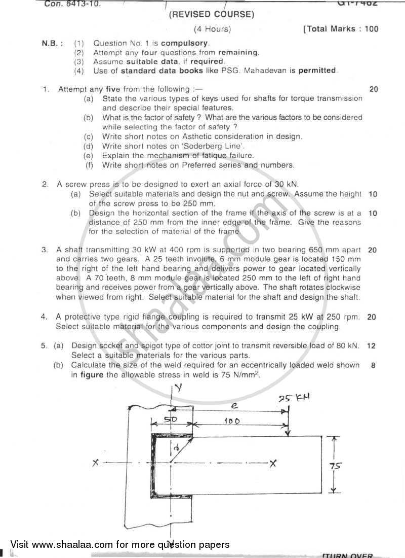 Question Paper - Machine Design 1 2010 - 2011 - B.E. - Semester 6 (TE Third Year) - University of Mumbai