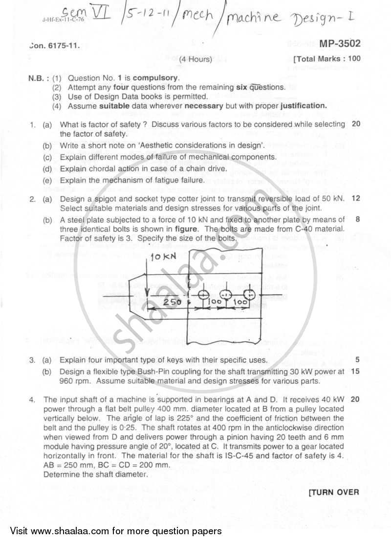 Question Paper - Machine Design 1 2011 - 2012 - B.E. - Semester 6 (TE Third Year) - University of Mumbai