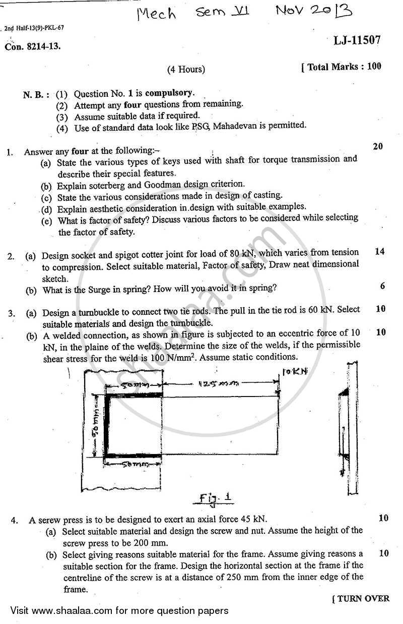 Question Paper - Machine Design 1 2013 - 2014 - B.E. - Semester 6 (TE Third Year) - University of Mumbai