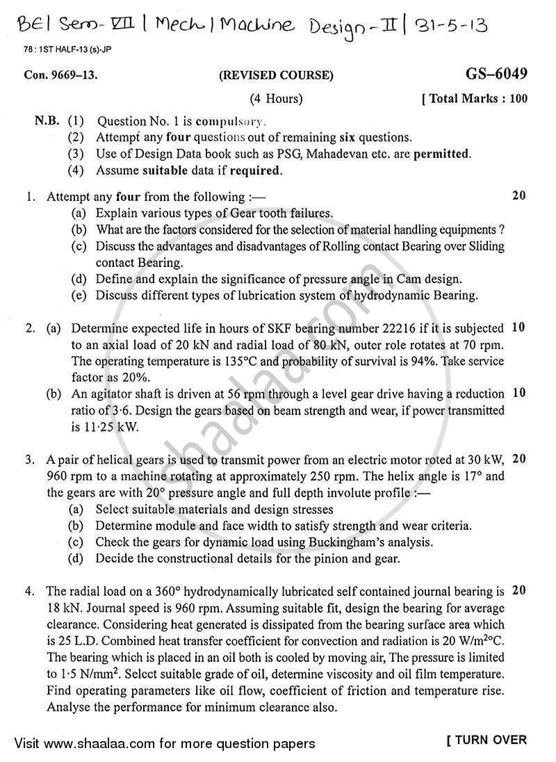Question Paper - Machine Design 2 2012 - 2013 - B.E. - Semester 7 (BE Fourth Year) - University of Mumbai