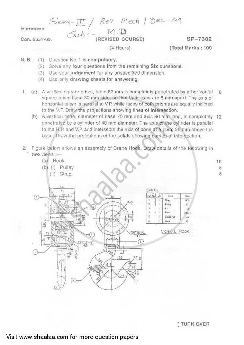 Question Paper - Machine Drawing 2009 - 2010 - B.E. - Semester 3 (SE Second Year) - University of Mumbai