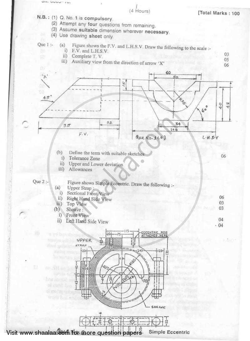 Question Paper - Machine Drawing 2010-2011 - B.E. - Semester 3 (SE Second Year) - University of Mumbai with PDF download