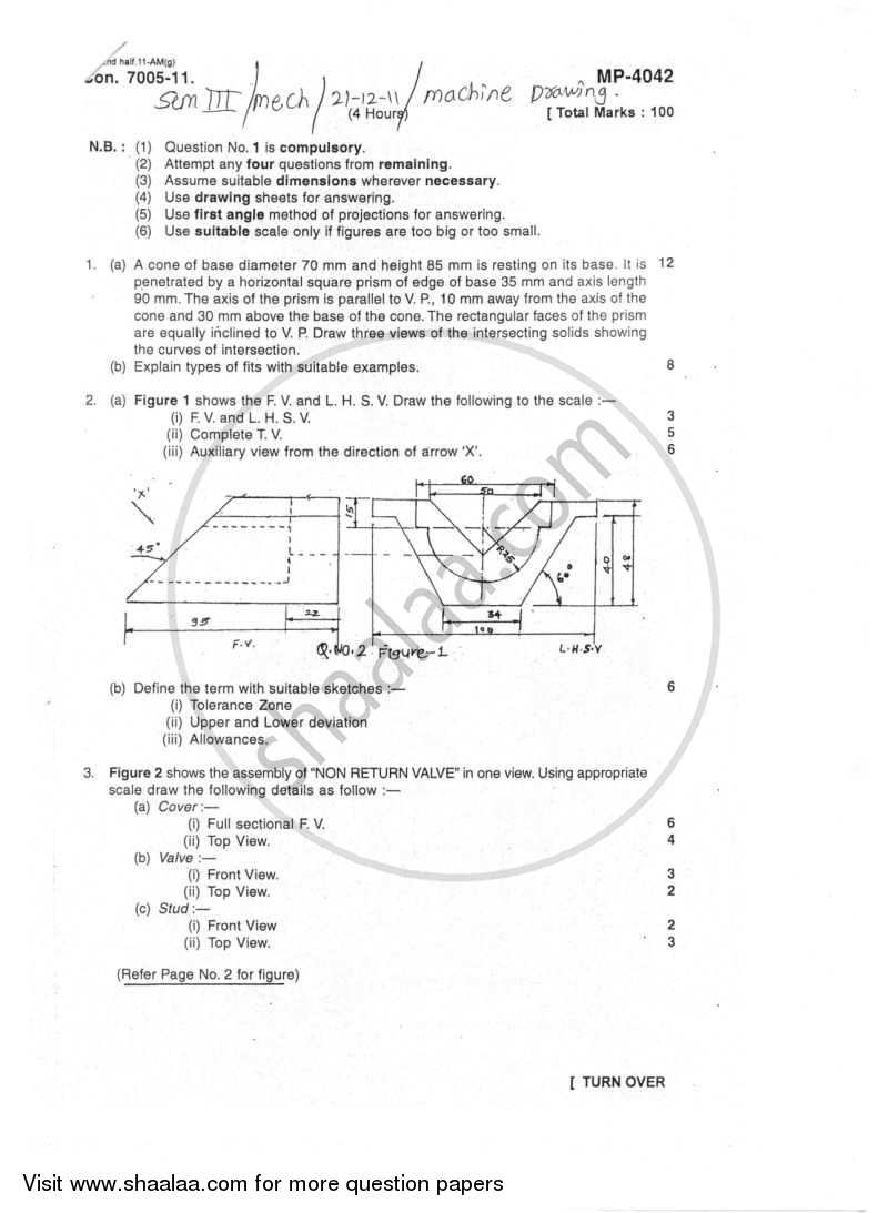 Question Paper - Machine Drawing 2011 - 2012 - B.E. - Semester 3 (SE Second Year) - University of Mumbai