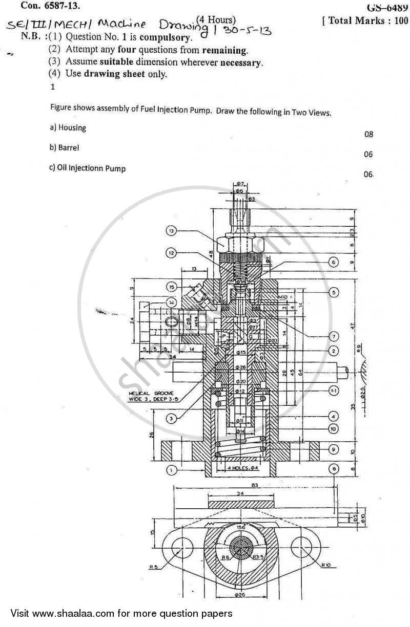 Question Paper - Machine Drawing 2012 - 2013 - B.E. - Semester 3 (SE Second Year) - University of Mumbai