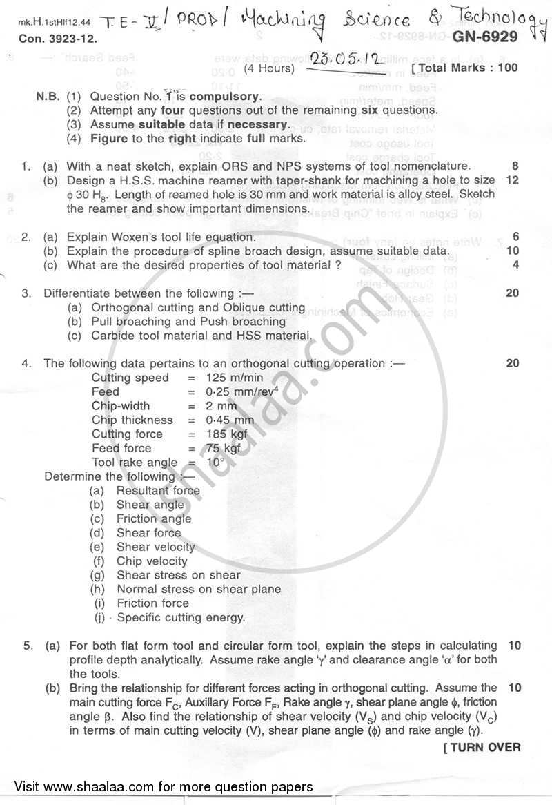 Question Paper - Machining Science and Technology 2011 - 2012 - B.E. - Semester 5 (TE Third Year) - University of Mumbai