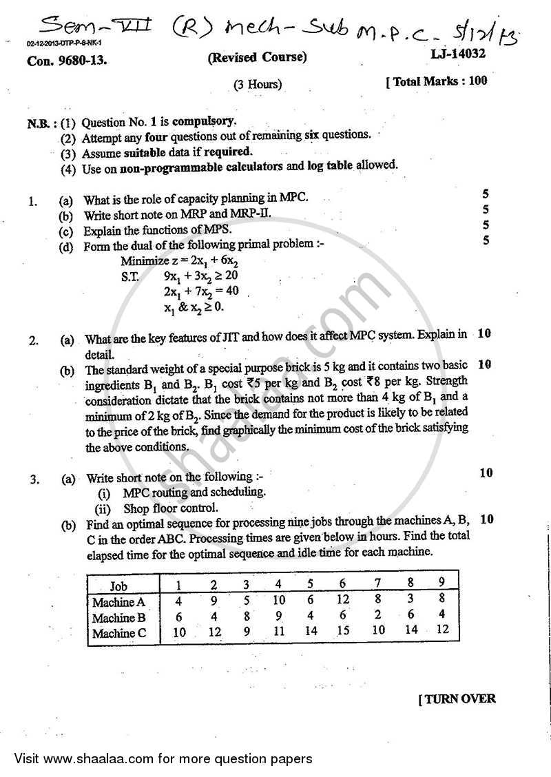 Question Paper - Manufacturing Planning and Control 2013 - 2014 - B.E. - Semester 7 (BE Fourth Year) - University of Mumbai