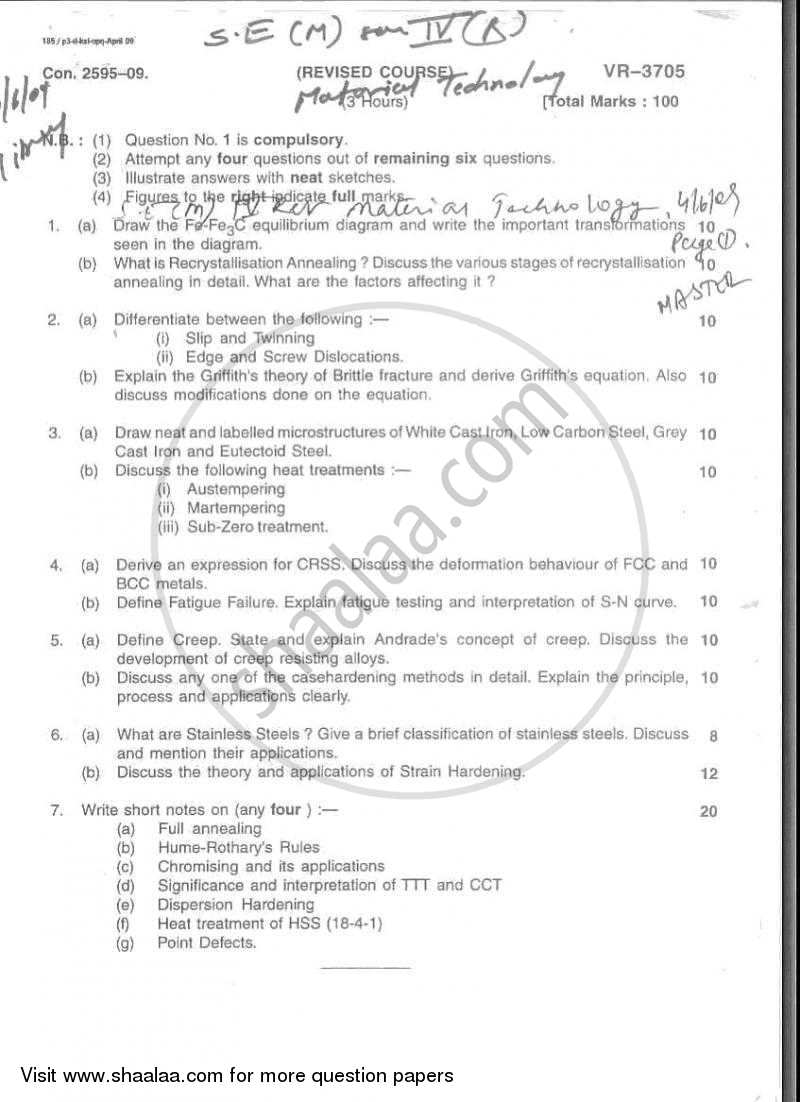 Question Paper - Material Technology 2008 - 2009 - B.E. - Semester 4 (SE Second Year) - University of Mumbai