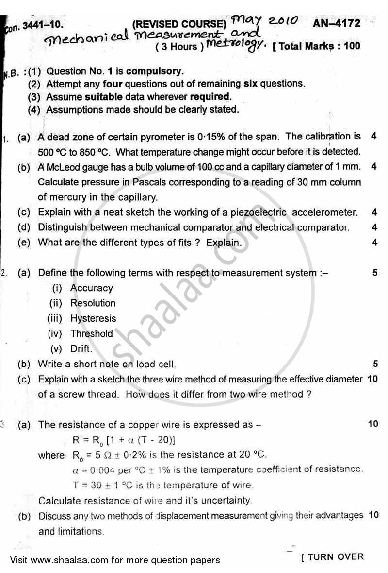 Question Paper - Mechanical Measurement and Metrology 2009 - 2010 - B.E. - Semester 5 (TE Third Year) - University of Mumbai