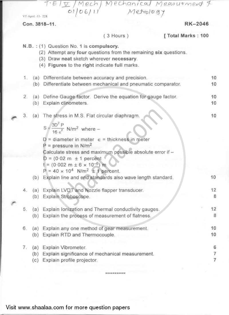 Question Paper - Mechanical Measurement and Metrology 2010 - 2011-B.E.-Semester 5 (TE Third Year) University of Mumbai